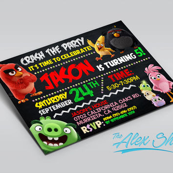 Angry Birds, Angry Birds invitation, Angry Birds birthday, Angry Birds birthday inivtation, Angry Birds party, birthday invitation