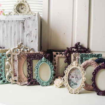 Vintage Style Ornate Wedding Table Number Picture Frames, Plum, Blue, Cream, Champagne, Blush Fall Frame Collection, Elegant Ornate Frames