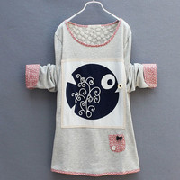 Fashion Floral Little Fish Stitching Sweater