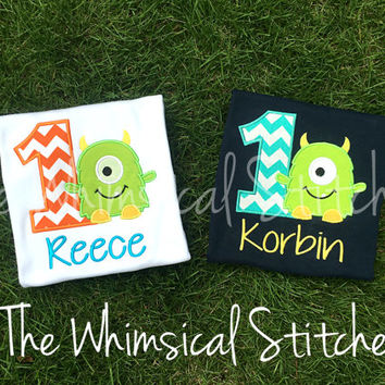 Monster Birthday Shirt, Boys Birthday Monster Shirt, Boys Monster Shirt, Monster Outfit, Personalized Shirt, Embroidered, Monogrammed