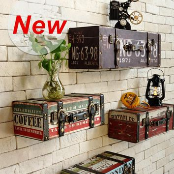 Vintage Retro Leather Painted Luggage Suitcase Box Wall  Decor Shelve Shelving
