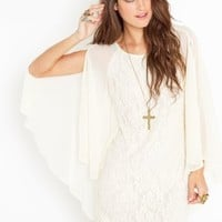 Laced Cape Dress - Ivory in  Clothes at Nasty Gal