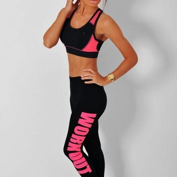 Agility Black & Neon Pink 'Work Out' Print Leggings | Pink Boutique