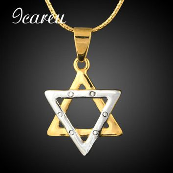 Jewish Hexagram Star Of David Pendant Necklace Men/Women Chain Stainless Steel Silver/Gold Color Vintage Israel Jewelry