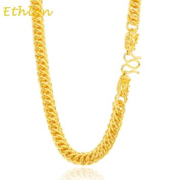 Ethlyn Vietnamese gold  dragon head handmade thick chain Gold color width 9mm men necklace jewelry Color quality good N010