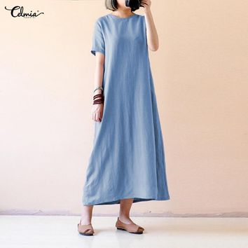 Plus Size 5XL Celmia Summer Maxi Dress Women Causal O Neck Short Sleeve Loose Solid Vintage Cotton Dresses Long Vestidos