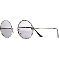 Silver diamante trim round retro sunglasses