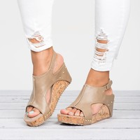 Cut Out Wedges Sandals- Taupe