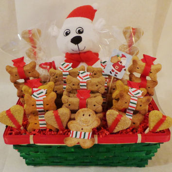 Christmas custom dog biscuit treat dog gift basket with polar bear squeak toy, dog treats, unique gift, holiday, personalized, dog bones