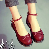 Retro cute bow Leather shoes