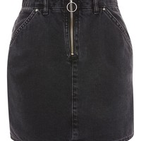 Half Zip Denim Skirt - Skirts - Clothing