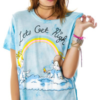UNIF Let's Get High Tee Blue Tie Dye