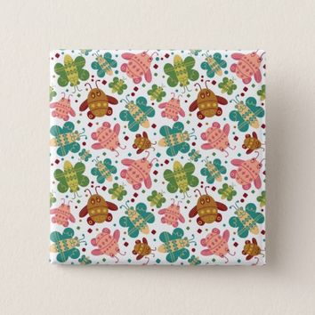 Retro Shapes Bugs Surface Pattern Square Button
