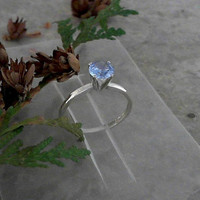 Aquamarine Solitaire 925 Sterling Silver Ring CC-40023