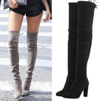 Woman Stretch Suede Slim Thigh High Heel Boots Sexy Over the Knee Boots for Women Overknee Shoes Ladies 2016 Black Grey Wine Red