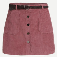 Pink Corduroy Single Breasted Pockets Skirt With Belt