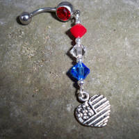red white and blue hert belly  button ring