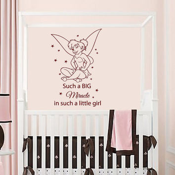 Wall Decals Vinyl Decal Sticker Quote Miracle Girl Tinkerbell Fairy Dust Art Mural Home Interior Design Kids Nursery Baby Room Decor KT60