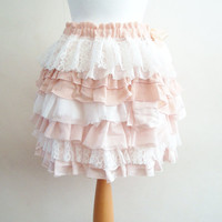 Upcycled Skirt Woman's Clothing Ivory Peach Ruffles Lace Satin Chiffone Layers Mori Girl inspired Marie Antoinette