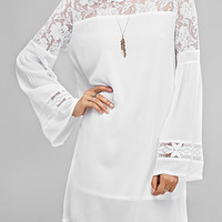 Bell Sleeve Lace Splicing Loose Dress