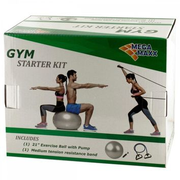 Gym Starter Kit With Exercise Ball, Pump & Resistance Band HH248