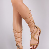 City Classified Crisscross Lace-Up Flat Sandal