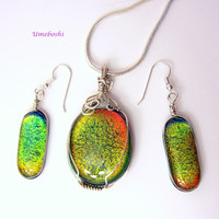 Autumn Sunset Dichroic Glass Pendant and Earrings Set -Argentium Wire Wrapped