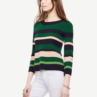 Striped 3/4 Sleeve Sweater | Ann Taylor