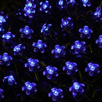 Innoo Tech Blue Led Solar Fairy Lights Outdoor String Lighting for Garden, 50 Blossom Flower Blub Patio Light for Indoor,Lawn Path