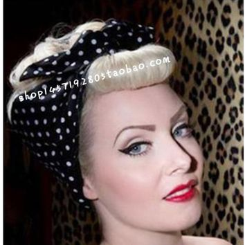 1950s vintage rockabilly pinup white black polka dot headband hair-wrap Head Scarf hair bands accessories popular bandana dolly