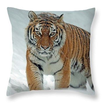 Tiger In Winter - Throw Pillow