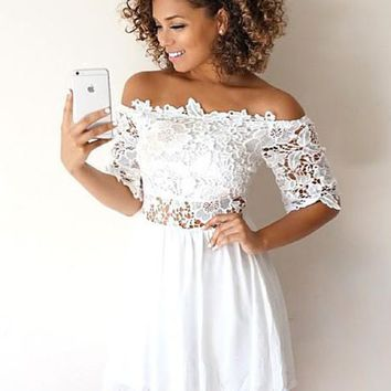 White Lace Off Shoulder Homecoming Dresses,Short Homecoing Dresses
