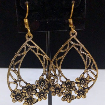 Gold plated Oxidized Long Flower Earring
