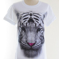 Tiger T-Shirt -- Funny Tiger Shirt Funny T-Shirt Funny Shirt Animal T-Shirt Women T-Shirt Unisex T-Shirt Men T-Shirt White T-Shirt Size M