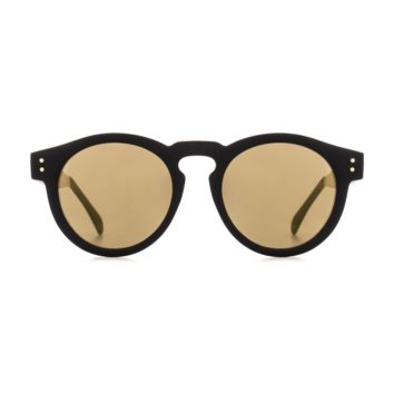Komono - Clement Metal Series Black Gold Sunglasses / Polycarbonate Light Gold Mirror Lenses
