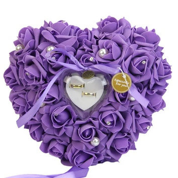 Romantic Rose Wedding Favors Heart Shaped Jewelry Gift Ring Box Pillow Cushion [7983471495]