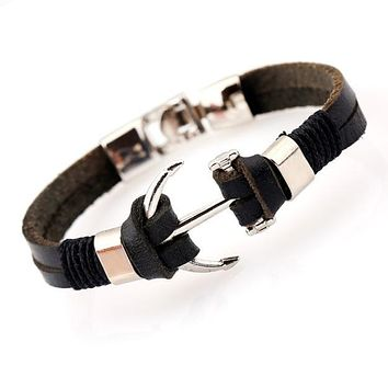 High Quality Genuine Leather Bracelet Men Anchor Bracelets,Black