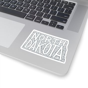 North Dakota State Shape Sticker Decal - Grey