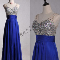 Long Royal Blue Beaded Crystal Prom Dresses,Chiffon Evening Dresses,Ball Grown Party Dresses,Bridesmaid Dresses,Homecoming Dresses