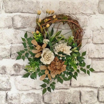 Burlap Wreath, Summer Wreath, Front Door Wreath, Outdoor Wreath, Silk Floral Wreath, Grapevine Wreath, Spring Wreath, Door Decor, Neutral