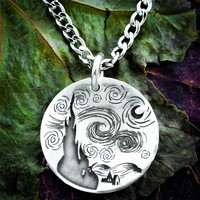 Silver Starry Night necklace, Van Gogh jewelry