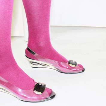 80s Clear Vinyl Novelty Wedge Heels Size 9.5 N