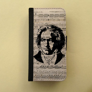 Beethoven iPhone 4 wallet case iPhone 5 flip case Samsung Galaxy S3 S4 leather wallet, iPhone wallet, book style, Samsung iPhone 5 case