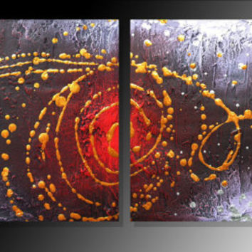 "modern canvas wall art on original purple red painting for sale ""Cosmic Symphony"" triptych wall sculture 16 x 40"""