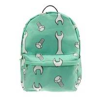CrazyPomelo Cartoon Wrench & Screw Pattern Canvas Backpack Green