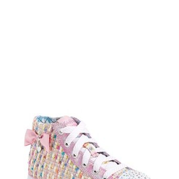 Girl's SKECHERS 'Twinkle Toes - Chit Chat Sweet Seekers' Light-Up High Top Sneaker,