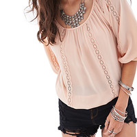 FOREVER 21 Embroidered Woven Peasant Top Peach