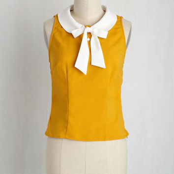A Fresh Cup of Brava Top in Goldenrod | Mod Retro Vintage Short Sleeve Shirts | ModCloth.com