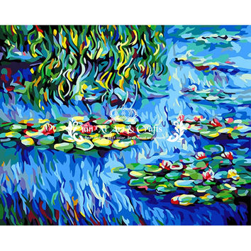 (With frame) picture on wall acrylic oil painting by numbers drawing by numbers gift paint by numbers Monet Water Lilies DY061