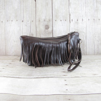 Leather Clutch, Fringe Bag, Brown Leather Bag, Leather Wristlet, Rustic Leather, Handmade Bag, Gift For Her